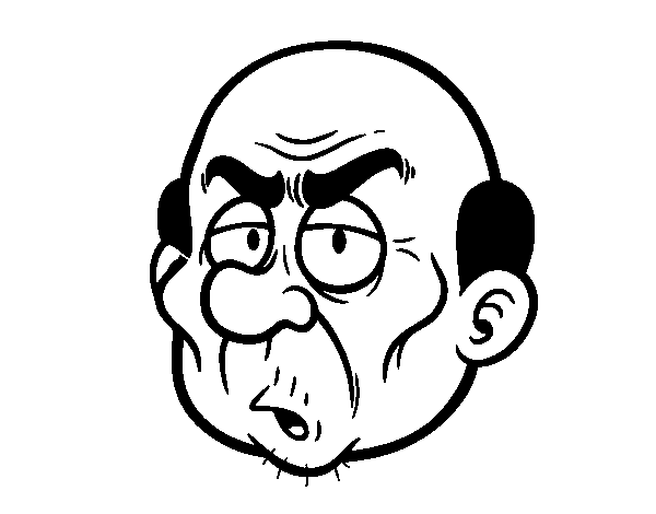 Dibujo De Cara De Señor Enfadado Para Colorear Dibujosnet