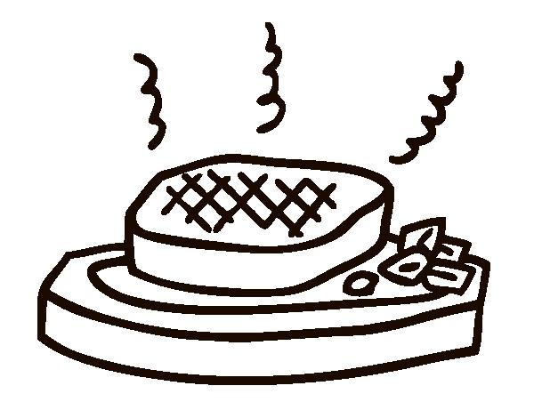 Dibujo de Carne a la parrilla para Colorear - Dibujos.net