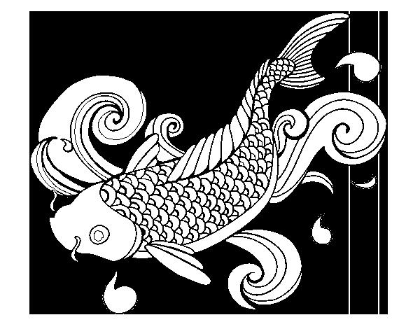 Dibujo De Carpa Koi Para Colorear Dibujosnet