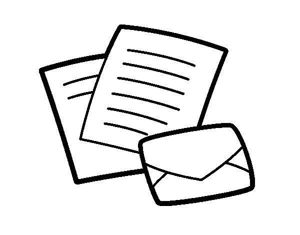 Dibujo de Cartas y sobre para Colorear - Dibujos.net