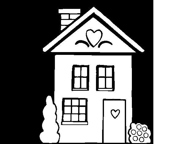 Dibujo de Casa con corazones para Colorear - Dibujos.net