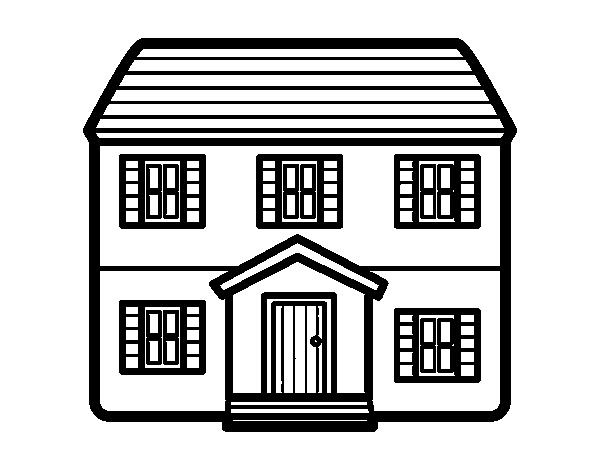 Dibujo De Casa Con Dos Pisos Para Colorear Dibujosnet