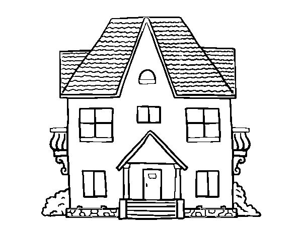 Dibujo de casa de campo con balcones para colorear - Imagenes de casas para dibujar ...