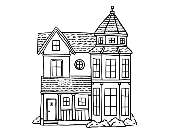 Dibujo de Casa señorial clásica para Colorear - Dibujos.net