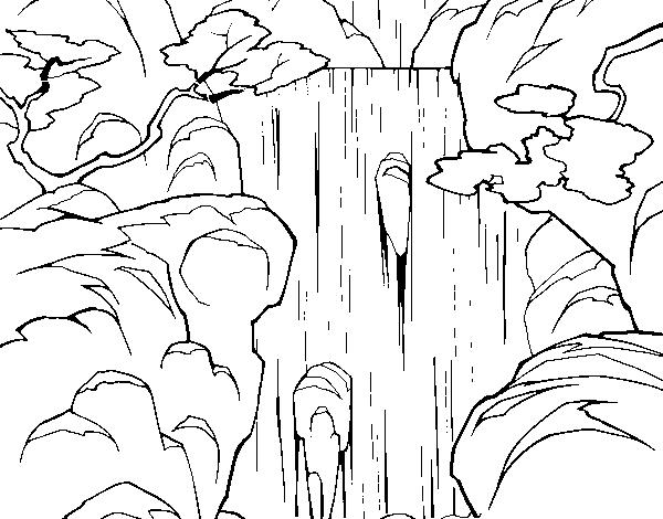 Dibujo De Cascada Para Colorear Dibujosnet