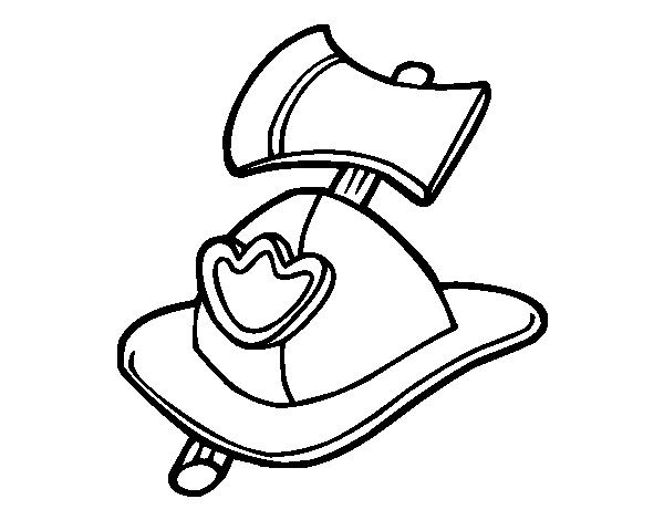 Dibujo de Casco y hacha de bombero para Colorear - Dibujos.net