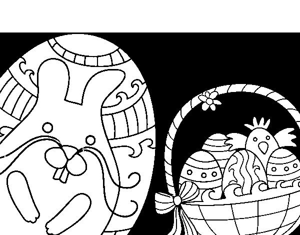 Dibujo de Cesta con huevos de pascua para Colorear - Dibujos.net
