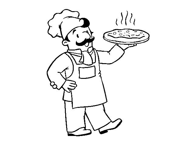 Dibujo De Chef Italiano Para Colorear Dibujosnet