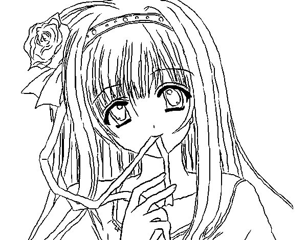 Dibujo de Chica anime para Colorear - Dibujos.net