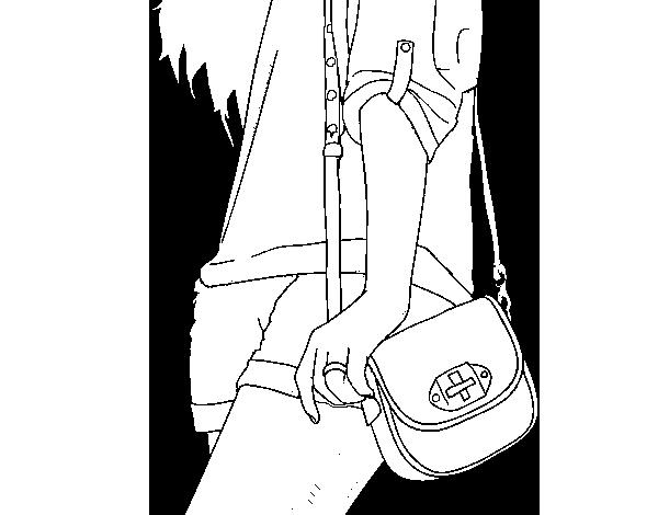 Dibujo De Chica Con Bolso Para Colorear Dibujosnet