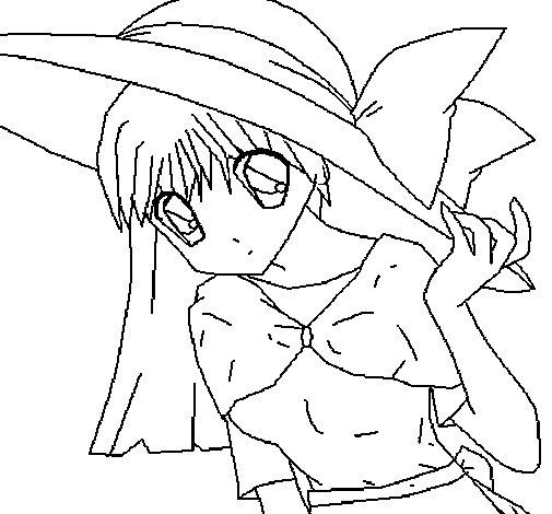 Dibujo de Chica con sombrero pamela para Colorear - Dibujos.net