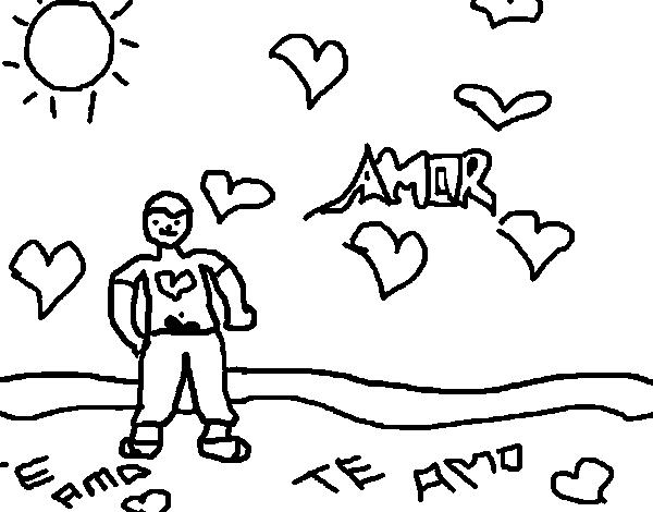 Dibujos Para Colorear De Chicos: Dibujo De Chico Enamorado 2 Para Colorear