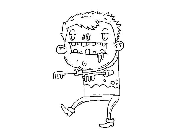 Dibujos De Zombies Para Imprimir Y Colorear: Dibujo De Chico Zombie Para Colorear