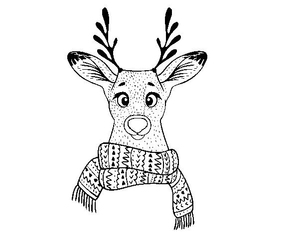 Dibujo de Ciervo con bufanda para Colorear - Dibujos.net