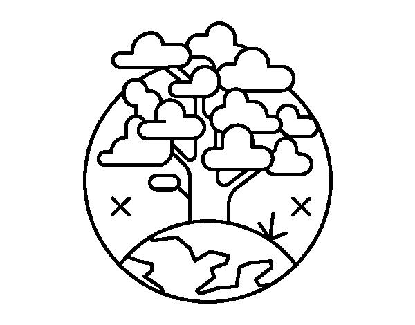 Dibujos De Arboles Coloreados: Dibujo De Circulo árbol Para Colorear