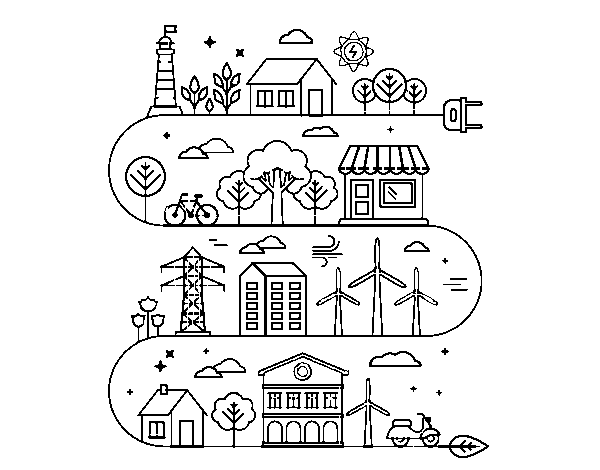 Dibujo De Ciudad Ecológica Para Colorear Dibujosnet