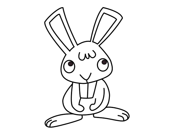 Dibujo de Conejito feliz para Colorear - Dibujos.net