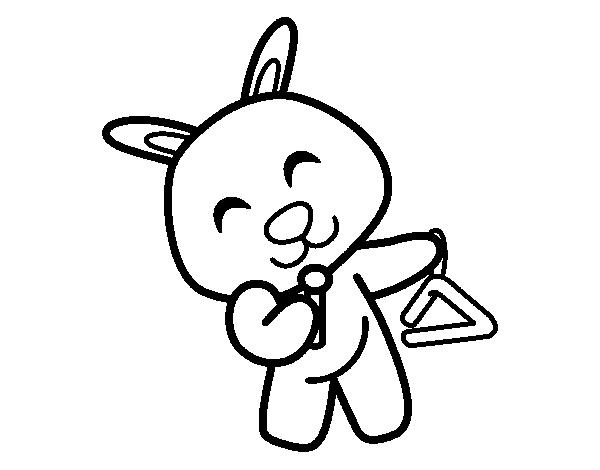 Dibujo de Conejo con triángulo para Colorear - Dibujos.net