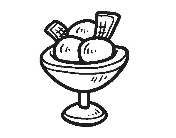 Dibujo de Copa con tres bolas de helado para Colorear - Dibujos.net