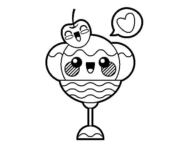Dibujo de Copa de helado kawaii para Colorear - Dibujos.net