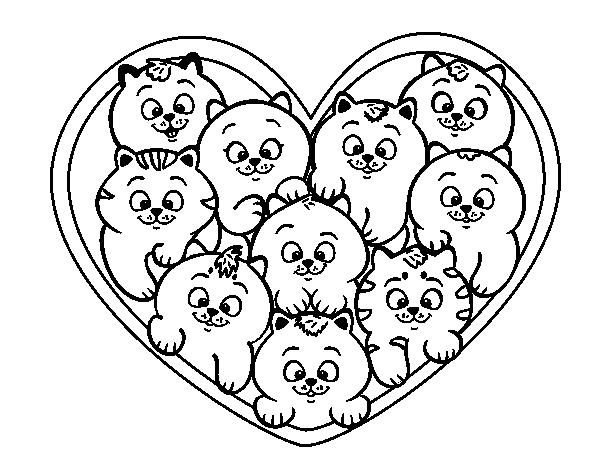 Dibujo de Corazón de gatitos para Colorear - Dibujos.net