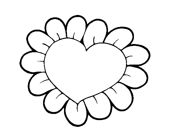 Dibujo De Corazón Flor Para Colorear Dibujosnet