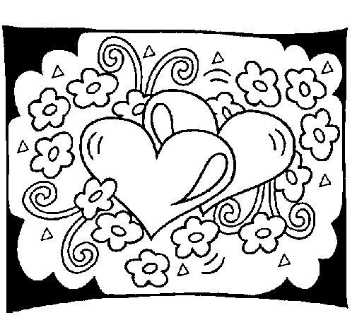 Dibujo de Corazones y flores para Colorear - Dibujos.net