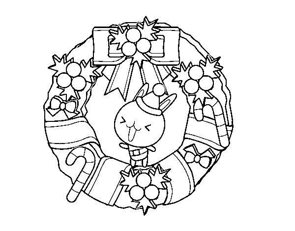 Dibujos De Conejitos Para Imprimir Y Colorear: Dibujo De Corona Navideña Y Conejito Para Colorear