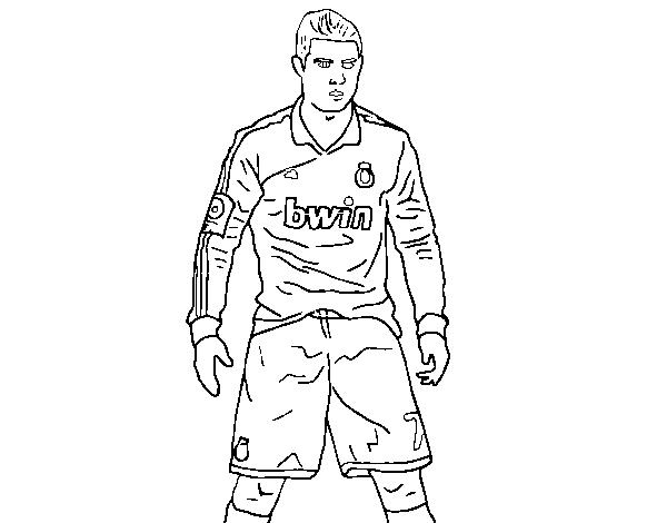 Dibujos Del Real Madrid Para Imprimir Y Colorear: Dibujo De Cristiano Ronaldo Real Madrid Para Colorear