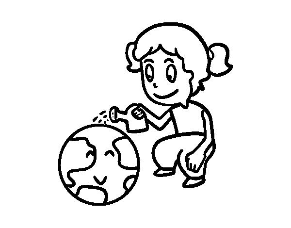 Dibujo De Cuidar El Planeta Tierra Para Colorear Dibujosnet