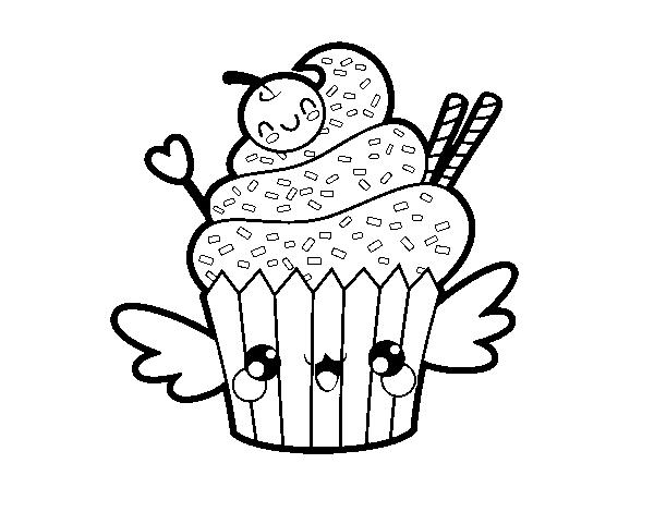 Dibujo De Cupcake Kawaii Con Cereza Para Colorear Dibujosnet