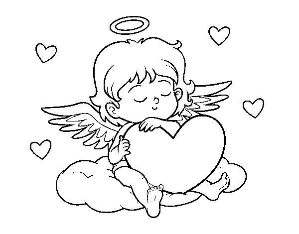 Dibujo De Cupido Con Corazón Para Colorear Dibujosnet
