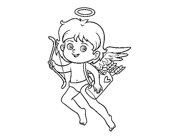 Dibujo de Cupido con su arco mágico para Colorear - Dibujos.net