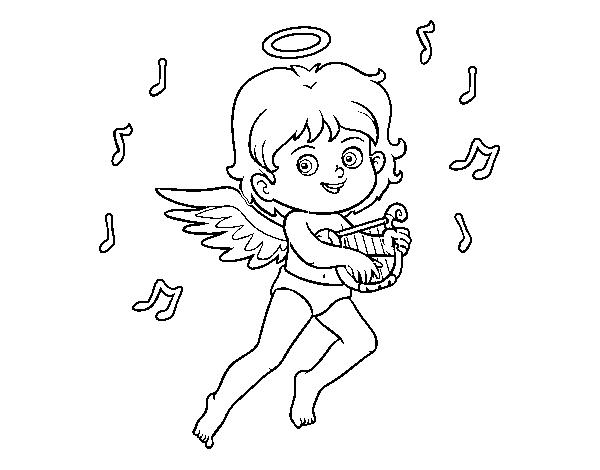 Dibujo De Cupido Tocando El Arpa Para Colorear