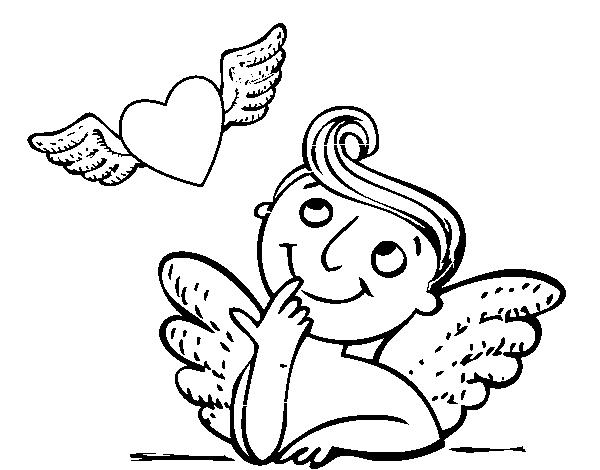 Dibujo de Cupido y corazón con alas para Colorear - Dibujos.net