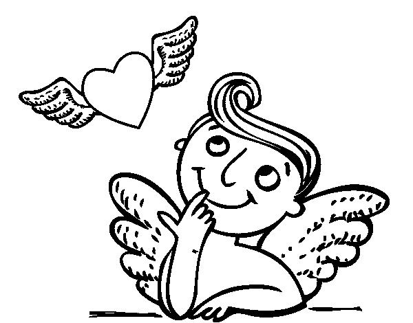 Dibujo De Cupido Y Corazón Con Alas Para Colorear Dibujosnet