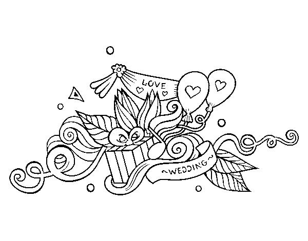 Dibujo De Decoracion De Bodas Para Colorear Dibujos Net