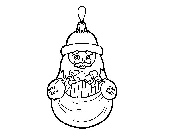 Dibujos Para Colorear On Line De Navidad: Dibujo De Decoración De Navidad Santa Claus Para Colorear