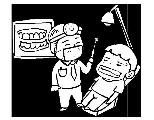 Dibujo de Dentista con paciente para Colorear - Dibujos.net
