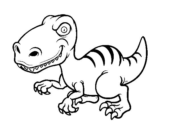 Dibujo de Dinosaurio velociraptor para Colorear - Dibujos.net