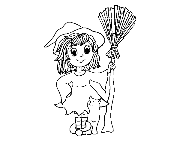 Dibujo de Disfraz bruja de Halloween para Colorear - Dibujos.net