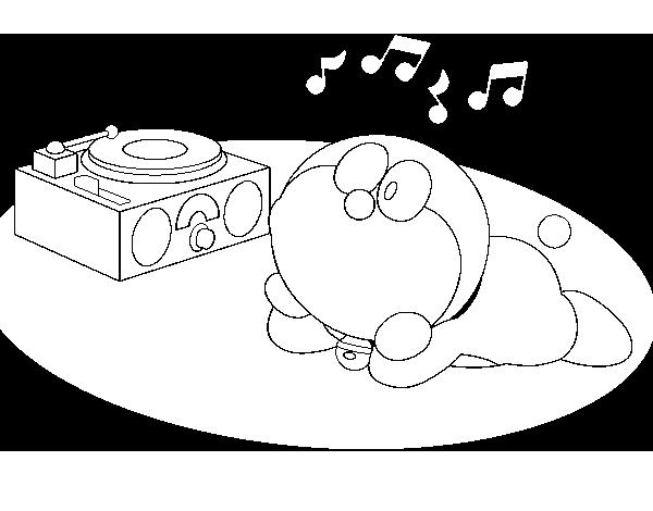 Dibujos Para Colorear E Imprimir De Doraemon: Dibujo De Doraemon Escuchando Música Para Colorear