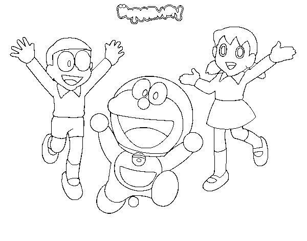Dibujo de Doraemon y amigos para Colorear - Dibujos.net
