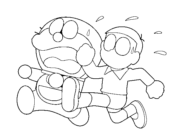Dibujos Para Colorear E Imprimir De Doraemon: Dibujo De Doraemon Y Nobita Corriendo Para Colorear