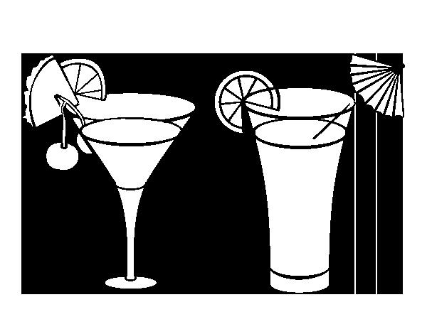 Dibujo De Dos Cócteles Para Colorear Dibujosnet