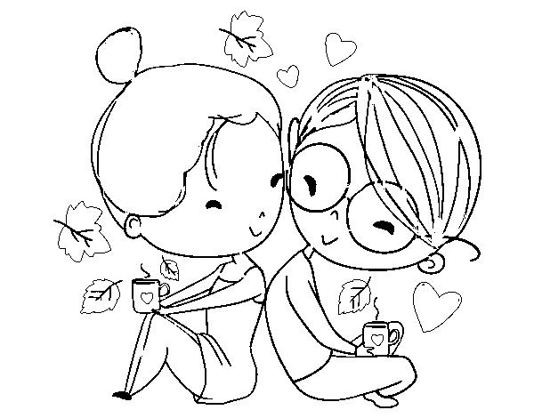 Dibujo de Dos jóvenes enamorados para Colorear - Dibujos.net