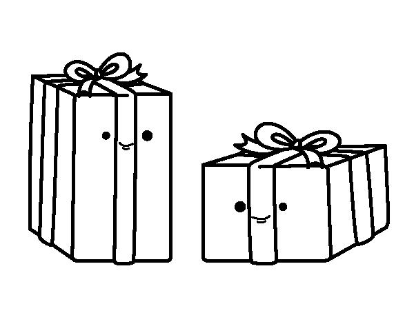 Dibujo de Dos regalos para Colorear - Dibujos.net