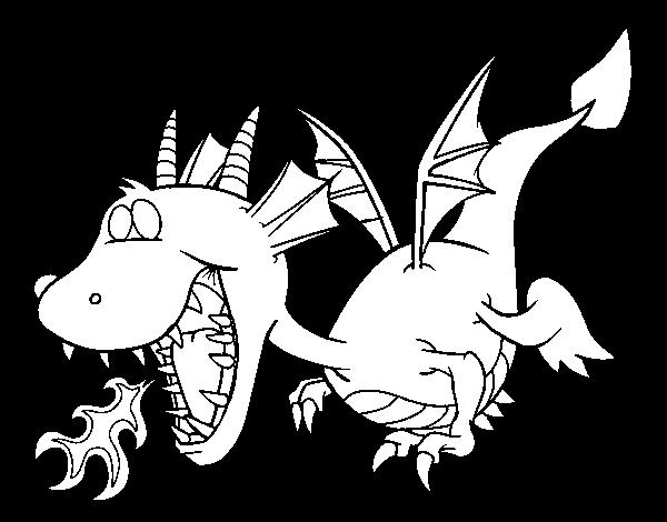 Dibujo de Dragón echando fuego para Colorear - Dibujos.net