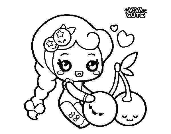 Dibujo De Dulces Cerezas Para Colorear Dibujosnet