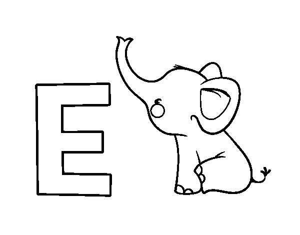 Dibujo de E de Elefante para Colorear - Dibujos.net